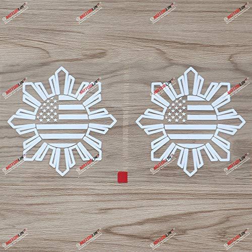 2X White 6'' Philippines American USA Flag Sun Star Filipino Decal Sticker Car Vinyl no bkgrd sda3