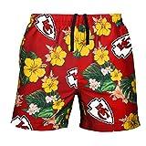 FOCO Mens Team Logo Floral Hawaiian Swimsuit Trunks, Color, Medium (30'-32'), Kansas City Chiefs, Medium (30' - 32'), Team Color
