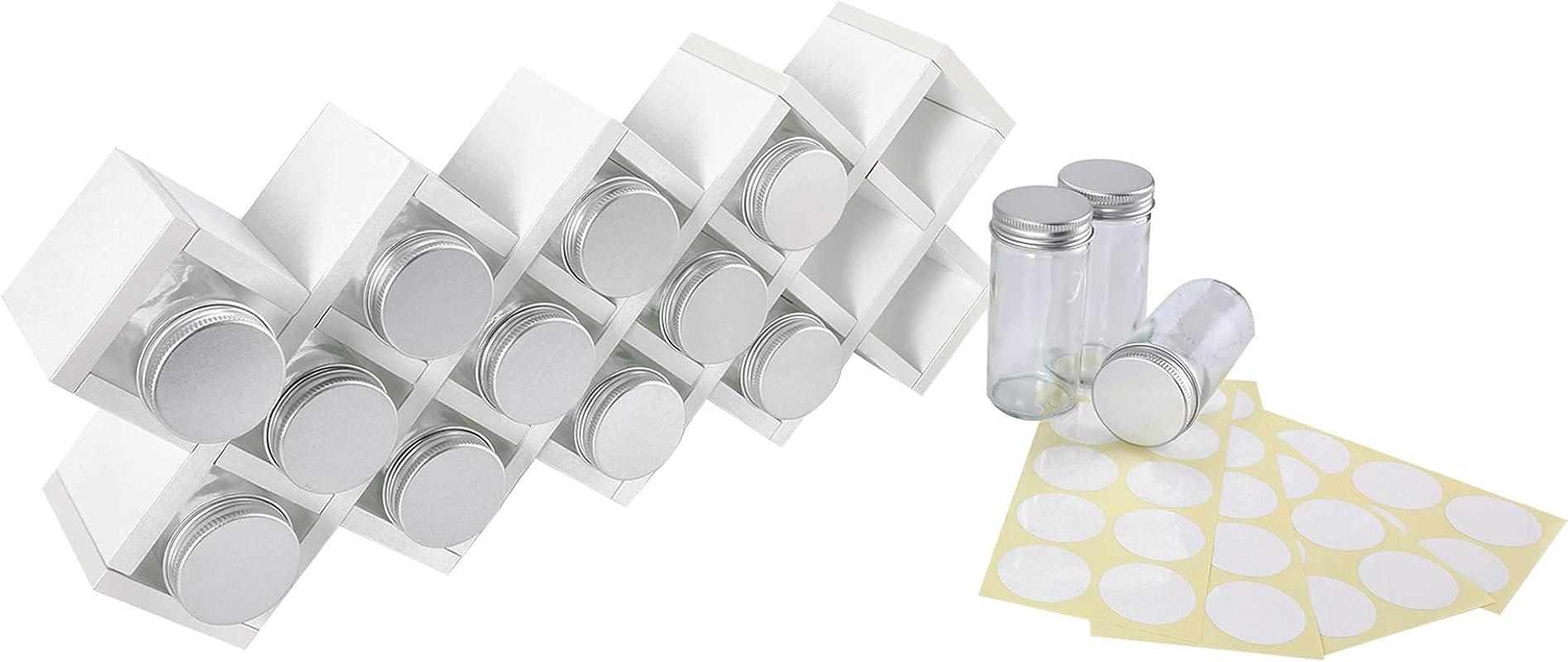 TQVAI Wooden 18 Jar Countertop Spice Rack Organizer With Labels White