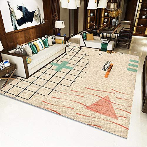 RUGMYW A Prueba De Polvo alfombras oficinas Patrón geométrico marrón Rojo Naranja Verde Negro Alfombra de Juegos niños 80X160cm