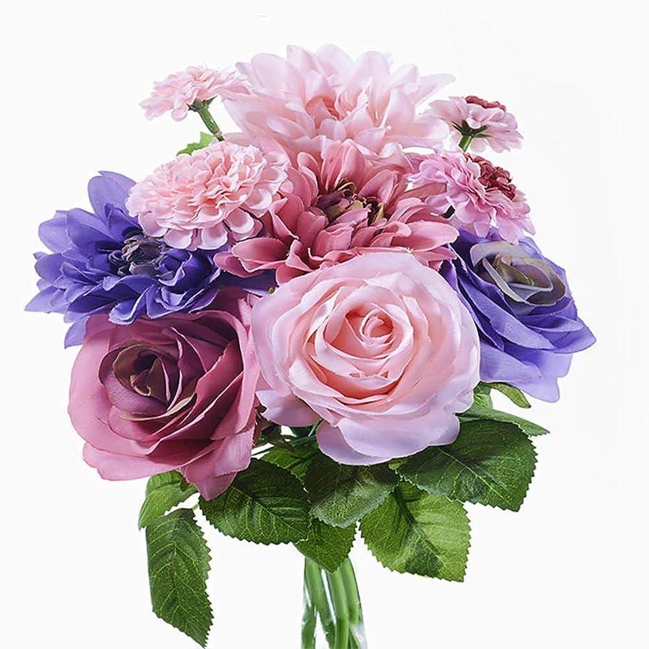 ジュニア機会ヘビ造花 枯れない花 ミニローズダリアバンチ(8本) 花束 インテリア造花 アートフラワー 薔薇 ダリア シルク製 母の日プレゼント お祝い 結婚式ブーケ バレンタインギフト 誕生日 母の日 (パープル)