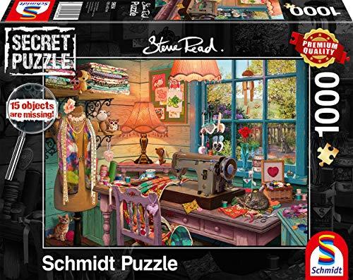 Schmidt Spiele 59654 Secret, Nähzimmer, 1000 Teile Puzzle, bunt