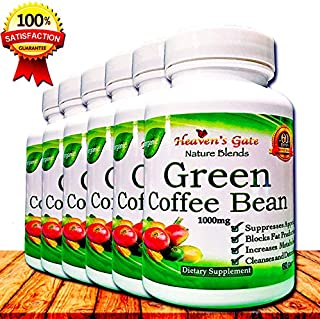 Green Coffee Bean Extract - All Natural Weight Loss Supplement - 1000 mg - 360 Capsules 6 Month Supply - 100% Pure - Appetite Suppressant Diet Pills - Detox - Boosts Energy & Metabolism (6)