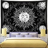 Cusaota Sun and Moon Tapestry Mystic Burning Sun Tapestries Black and White Psychedelic Stars Wall Hanging Tapestry for Living Room and Bedroom Aesthetic decor (H59.1' x W59.1')