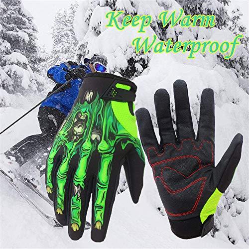 AmyGline Winter Warme Handschuhe Wasserdicht Schnee Snowboard Sport Skihandschuhe Fahrradhandschuhe Grün