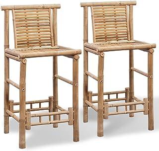 vidaXL 2X Taburetes de Bar con Respaldo Bambú Marrón Sillas Altas Barra Cocina