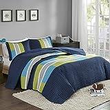 Comfort Spaces 2 Piece Quilt Coverlet Bedspread All Season Lightweight Hypoallergenic Pipeline Colorblock Kids Bedding Set, Twin/Twin XL, Pierre Navy/Blue Stripe