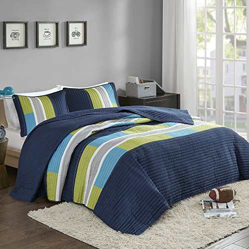 Comfort Spaces 3 Piece Quilt Coverlet Bedspread All Season Lightweight Hypoallergenic Pipeline Colorblock Kids Bedding Set, Full/Queen, Pierre Navy/Blue Stripe