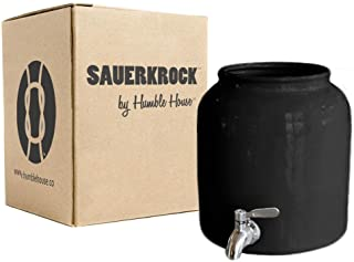 Humble House SAUERKROCK TAP Kombucha Crock with Stainless Steel Spigot - 5 Liter (1.3 Gallon) Ceramic Jar in Classic Black for Continuous Brewing