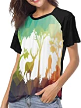 Shirt,Wildlife Animal Nature Decor Tiger Leopard Wild Animals in Jungle Forest S-XXL Baseball Tee for Girls