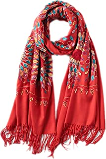 New scarf women vintage Embroidery thick warm scarves shawls