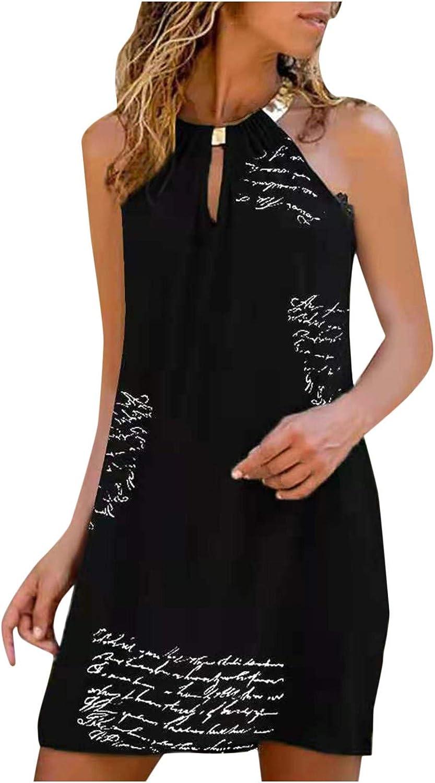 Tavorpt Summer Dresses for Women, Women's Sleeveless Metal Halter Neck Dress Sexy Mini Dress Print Beach Sundress Party