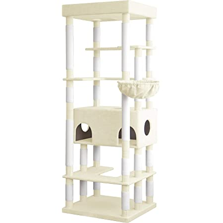 NEOLEAD ファブリック キャットタワー 猫タワー 多頭飼い Sクラス 落下防止柵 NL-FPJER03 (アイボリー)
