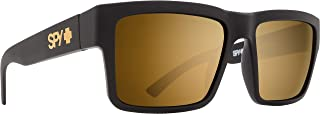 Spy Optic Montana Square Sunglasses, Soft Matte Black/Happy Bronze/Gold Mirror, 1.5 mm