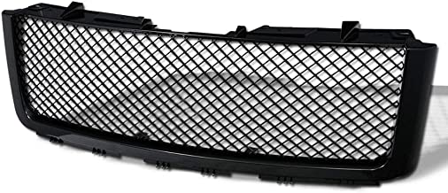 AA Products Luxury Sport Mesh Grille Compatible GMC Sierra 1500 2007 up to 2013 ABS Replacement Front Grille with Shell Gloss Black