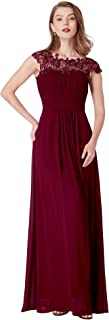 Ever-Pretty Women's Elegant Empire Waist with Lace Cap Sleeves A Line Floor Length Long Chiffon Bridesmaid Dresses 09993
