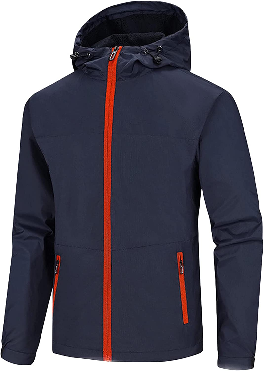 Men's Jackets Waterproof Breathable Hooded Trench Coats Lightweight Thin Windbreaker Casual Solid Outdoor Travel Jacket