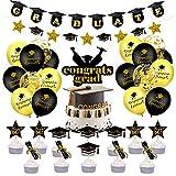 SHINsuke Suministros de fiesta de graduación, 35 piezas de accesorios para decoraciones de graduación 2021, incluyendo decoración para cupcakes, pancarta de Grat, bandera, globos, negro y dorado