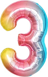 Large Number 3 Rainbow Balloons- 40 Inch | Number 3 Balloon for 3rd Birthday Decorations for Girls | Gradient Colorful 3 B...