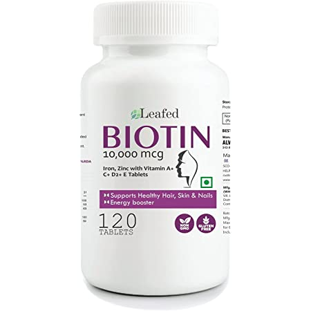 Leafed Biotin 10000mcg Maximum Strength with Zinc, Iron & Vitamin E, A, C , D2 for Hair Skin & Nails - 120 Vegetarian Tablets