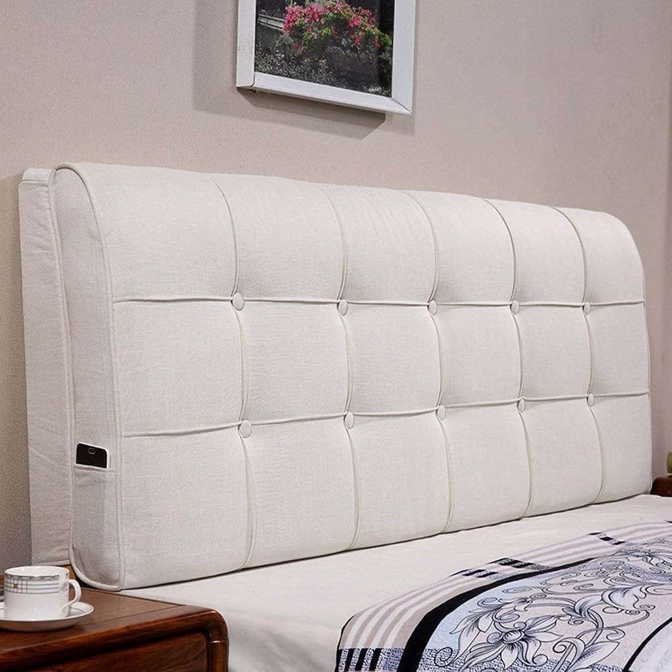 証明するスタウト置くためにパックヘッドボード背もたれ ヘッドボードクッションベッドサイドポジショニングサポートウェッジピローソフトパックピローダブルラージバックレストウエストパッドリネン (Color : White, Size : 200x60x12cm)