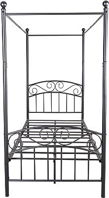 JURMERRY Canopy Lit en métal avec tête de lit et marchepied de style européen en acier robuste Noir