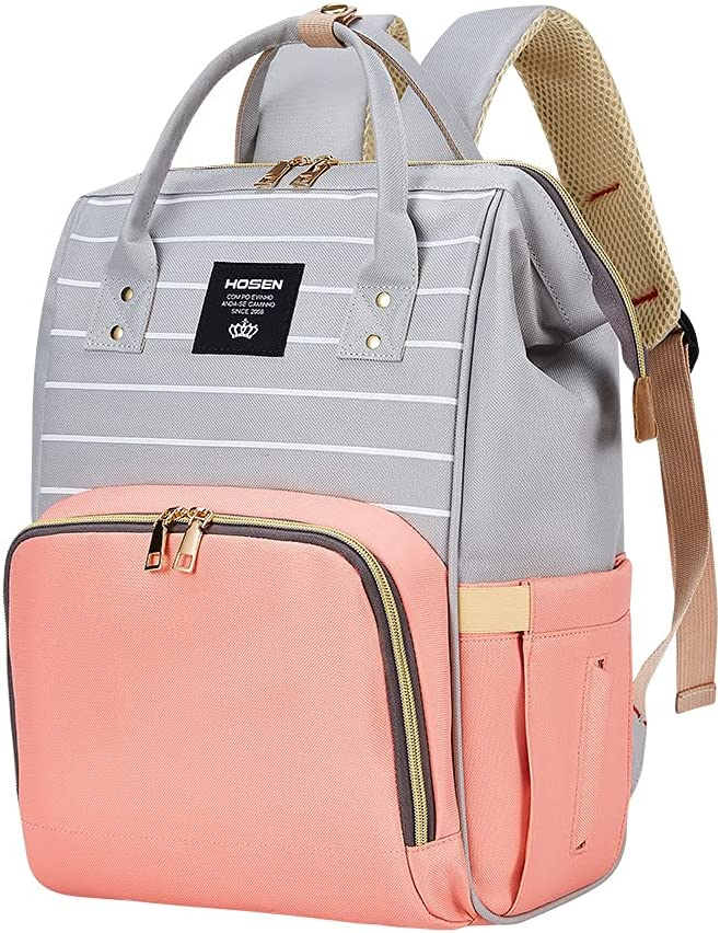 Diaper Bag Backpack, Baby Nappy Changing Bags with Stroller Straps, Large Capacity,NAECOUS Waterproof, Stylish and Multi-Function Maternity Back Pack Pink Grey