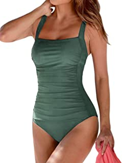 Hilor Women's One Piece Swimsuits Shirred Tank Swimwear Vintage Tummy Control Bathing Suits