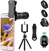 Camera Lens Compatible for iPhone X, 4 in 1 Cell Phone Lens, 12X Telephoto Lens + 180°Fisheye Lens + 0.65X Wide Angle Lens & Macro Lens Compatible with iPhone X XS XR 8 7 6 Samsung
