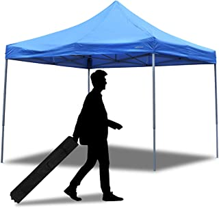 PUPZO Pop-Up Canopy Tent Gazebo 10x10 Portable Adjustable Carrying Bag Waterproof Party Camping Shelter Canopy (Blue)