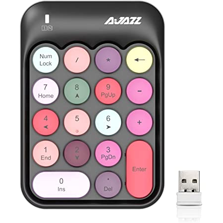 Wireless Numeric Keypad 18 Keys with 2.4G Mini Portable Silent Number Pad USB Receiver Financial Accounting Keyboard Extensions for Laptop Desktop PC Pro(Black Mix)