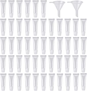 50Pcs 10ml Clear Refillable Squeeze Lip Gross Empty Tubes Containers Lip Balms Soft Tube for Women Girls Cosmetics DIY wit...