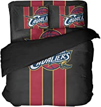 Maspt Basketball Bedding Sets Cleveland Black and Red Vertical Stripes Bed Flat Sheet Bedspread Sets Twin 3 Pieces(Queen 4pcs)