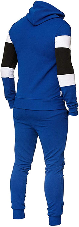CHENQ Men's Fashion Leisure Color Patchwork Sports Fitness Hoodies Pants Suit