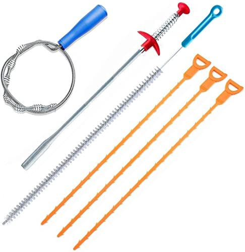 FOMMEN 6 Pack Clog Remover Drain Relief Auger Cleaner Tool,Sink Drain and Snake Overflow Cleaning Brush, Sewer Hair C...