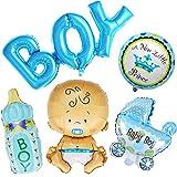Ouinne 5 Pièces Ballons d'Aluminium Baby Shower Décoration pour Anniversaire de Fête d'anniversaire (Garçon)