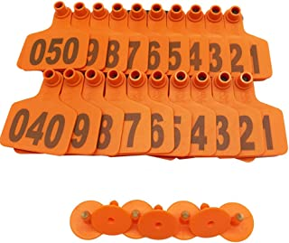 001-1000 Cattle Ear Tag Livestock Animal Cow Ear Mark Identification Tag for Cow Sheep Goats (Orange)