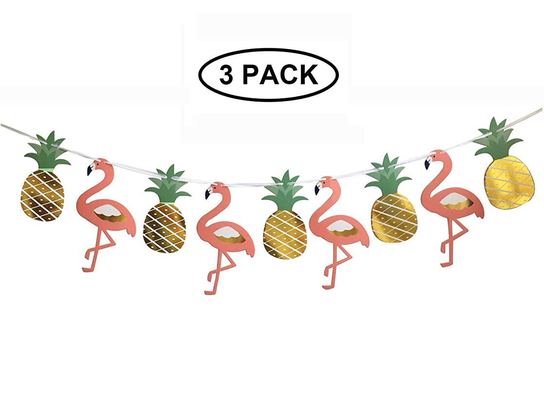 3 Pack Hawaiian Luau Party Banner,Flamingo Decoration Ribbon Banners for Summer Beach Party Garland