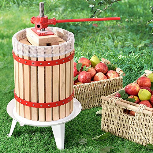 Juskys Mechanische Saftpresse Juicy 18 Liter mit Presstuch | Holz | manuell | Obst, Beeren & Früchte | Obstpresse Apfelpresse Beerenpresse