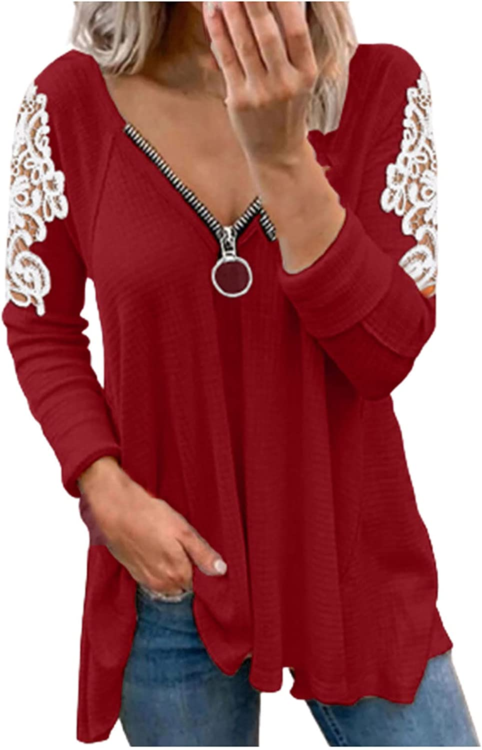 Womens Long Sleeve Tops, Women's Solid Color Patchwork Long Sleeve V-Neck Loose Shirt Blouse Top