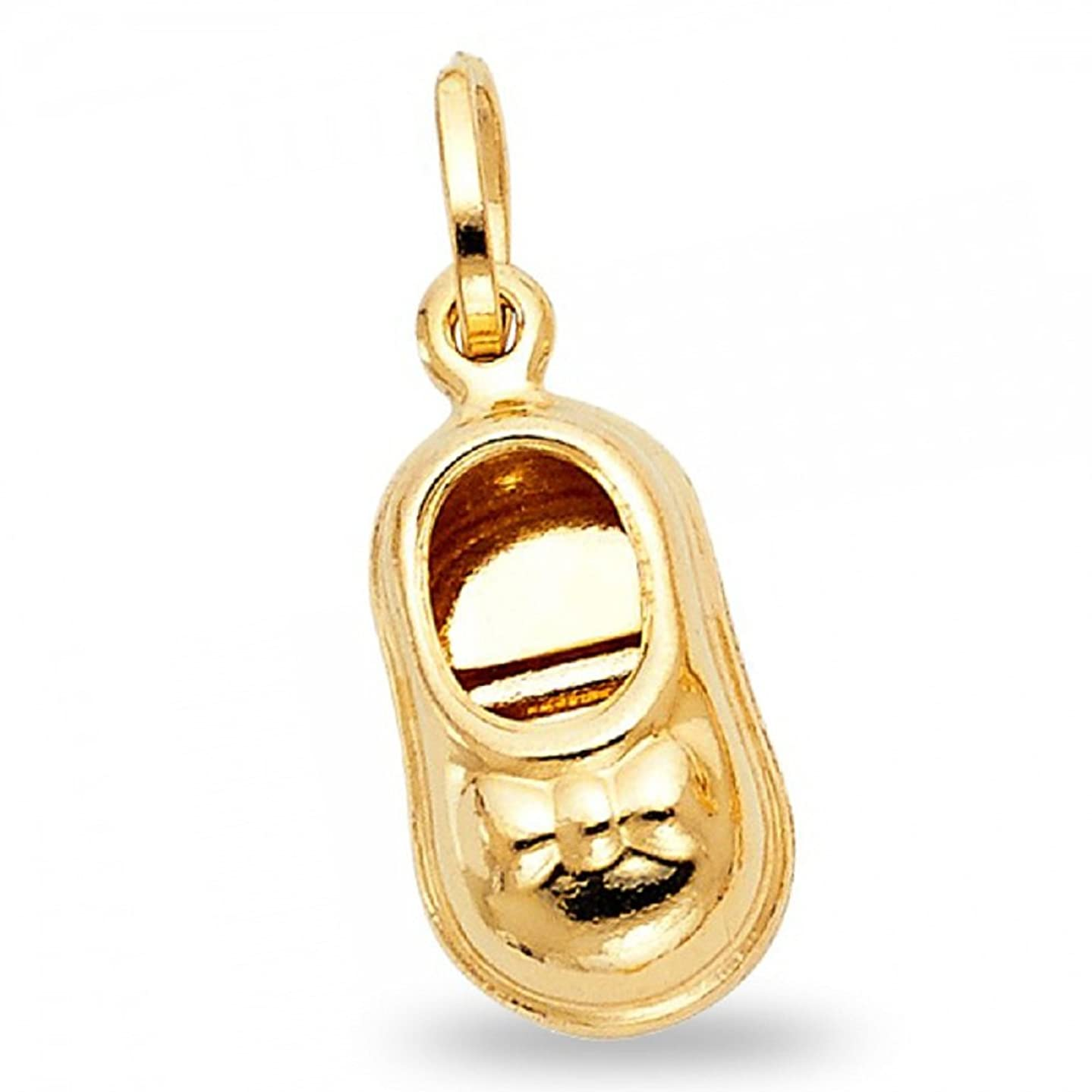 Baby Shoe Pendant Solid 14k Yellow Gold Charm Polished Shiny Finish Quality Design Cute 17 x 10 mm
