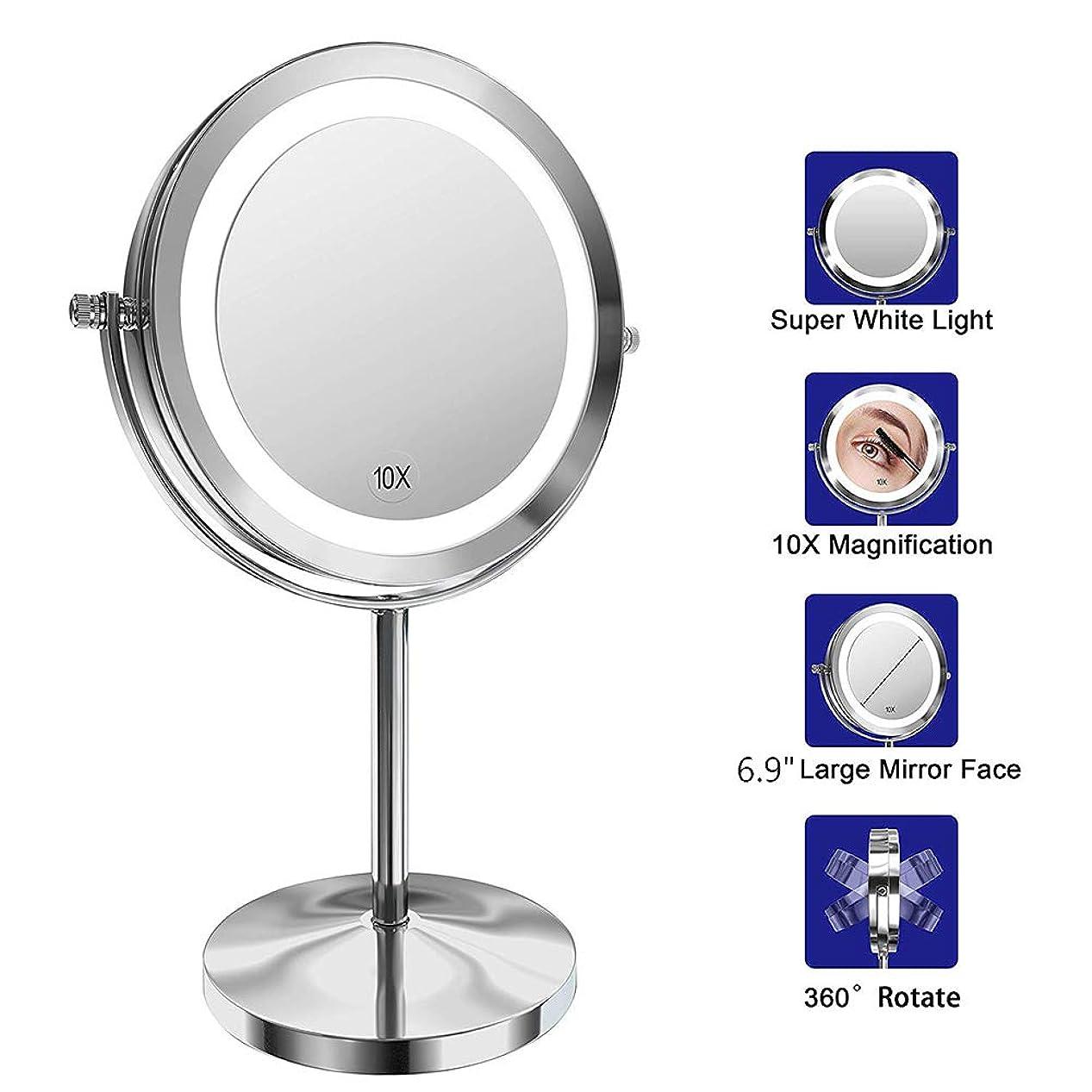 エスカレータースペインピック照明付き化粧鏡-10x LED拡大鏡、360°回転、LEDライト付き両面化粧鏡、スタンド付き旅行化粧鏡、電池式、ギフトに最適