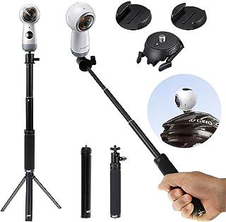 EEEKit 3 en 1 kit básico para selfie para Samsung Gear 360 2017/2016 Edición Ricoh Theta V/S/SC ampliar selfie stick monopié Mini trípode – liberación rápida planas y curvadas para pantalla plana