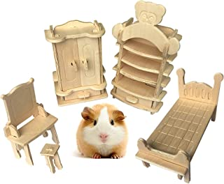 Dwarf Hamster Chew Toy for Teeth,Gerbil Cage Natural Wooden Mini Bedroom Furniture Decorations - No Dye Safety And Environmental Protection - Wood Toys Chewing and Playing for Small Rodent Rat 5Pcs