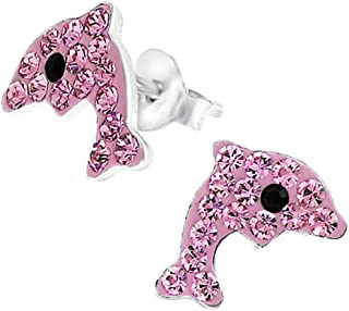 Dolphine Earrings Studs Light Rose Pink Crystal Children's Silver Jewelry Stering Silver 925 (E2724)