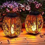 Kircust Solar Lanterns Outdoor Haning, Garden Solar Lights Flickering Flame...