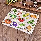 Zerodis Puzzles de Madera, Educación temprana No tóxico Puzzle de Madera Niños Interesante Aprendizaje temprano Apoyos Juguete Rompecabezas(Vegetables)
