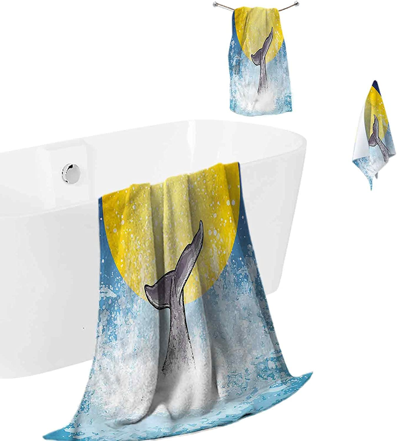 Towels Bathroom 25% Special sale item OFF Sets Quick-Dry Absorbent Tail Whale Fish Ocean