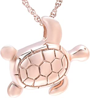 shajwo Sea Turtle Cremation Urn Necklaces for Ashes Stainless Steel Animal Urn Keepsake Jewelry Pendants for Men Women