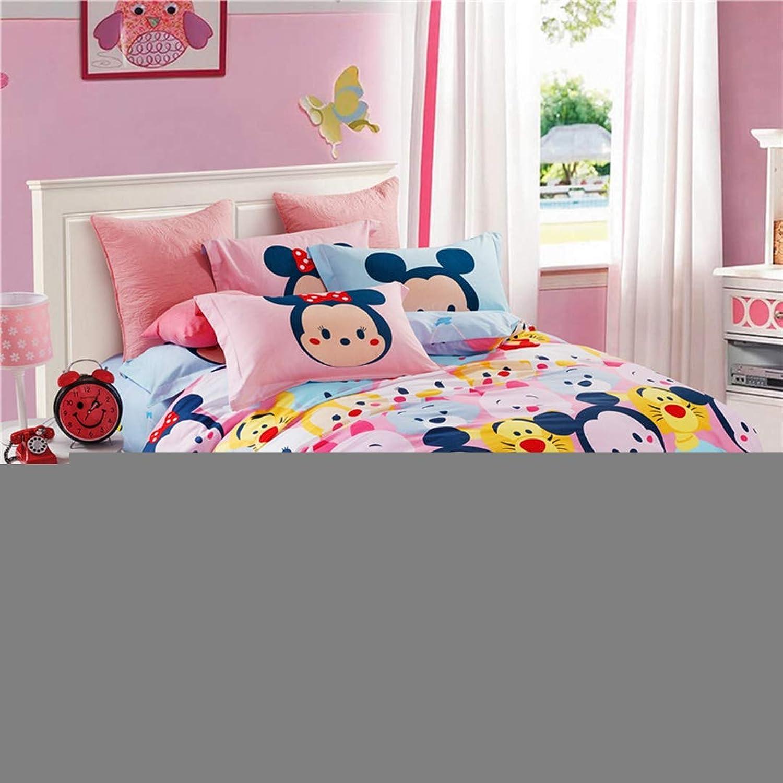 CASA 100% Cotton Kids Bedding Set Girls Tsum Tsum Duvet Cover Pillow case Flat Sheet,Girls,3 Pieces,Twin